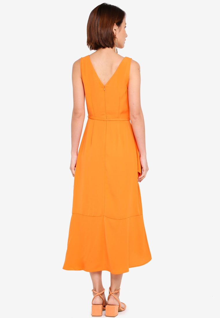 Orange WAREHOUSE Midi Dress Wrap Asymmetric YxRHgqvH
