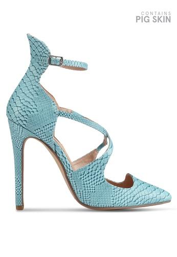 LOST INK blue Georgi Strappy Textured Court Heels 59589SH1991287GS_1