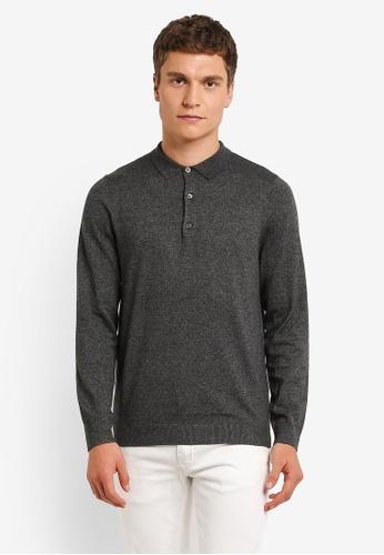 Burton Menswear London grey Charcoal Knitted Polo Shirt BU964AA0ROAQMY_1