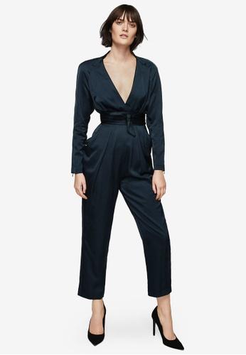 MANGO blue Premium Wrap Neckline Satin Jumpsuit MA193AA0SM93MY_1