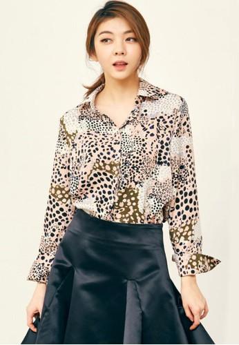 豹紋印花esprit mongkok女襯衣, 服飾, 上衣