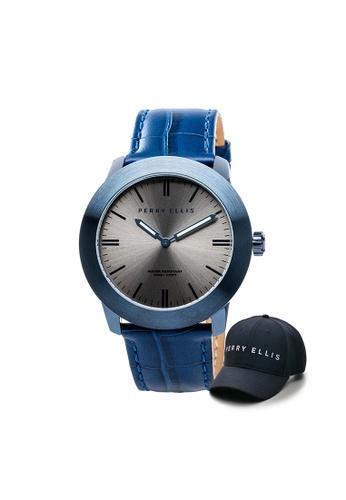 Perry Ellis blue Perry Ellis Slim Line Unisex 42mm Quartz Watch 07005-01 with Perry Ellis Cap B1726AC7449D7DGS_1
