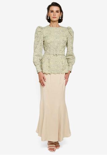 Zalia green and beige Lace Puff Sleeve Kurung 57174AA793738FGS_1