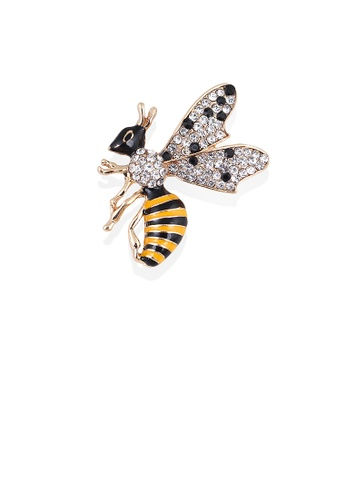 Glamorousky white Simple and Cute Plated Gold Bumble Bee Brooch with Cubic Zirconia 103D9ACADBF3F4GS_1