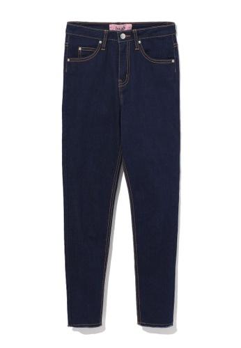 b+ab navy Frayed hem skinny jeans 0C93CAA69583C5GS_1