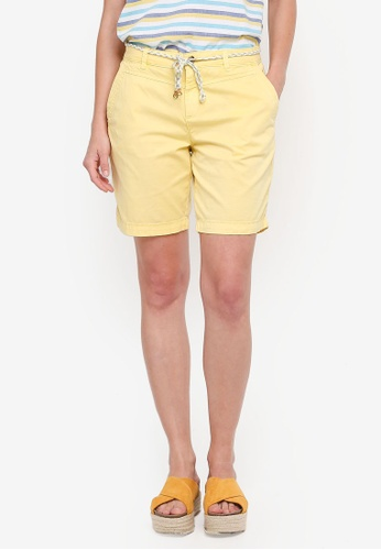 ESPRIT yellow Cord Belt Woven Regular Shorts BE0A8AA4AEE6CAGS_1