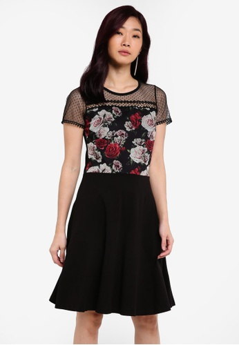Dorothy Perkins black Floral Print Mesh Top Dress DO816AA0RQVKMY_1