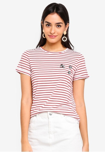 Dorothy Perkins red Petite Red Embroidered Stripe Tee 35D71AAA126960GS_1