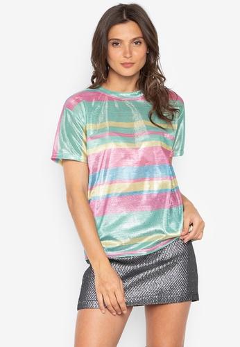 Chase Fashion multi Color Block Stripe Festival Glitter Shirt 7BAD5AA437E997GS_1