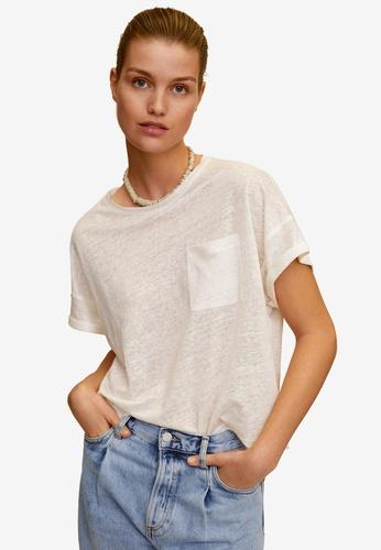 Mango white Pocket 100% Linen T-Shirt 14326AA1901D39GS_1
