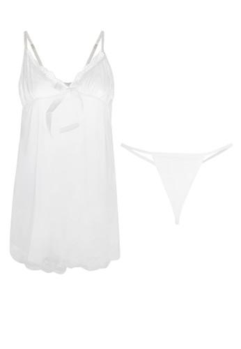 LAVABRA Intimates white Sweet Lingerie - Helena French Lace Sweet  Babydoll Lingerie 2 pcs Set LA387US07SNSID_1