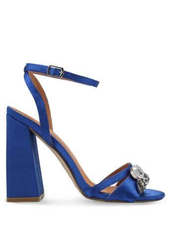 Public Desire blue Harrow Gem Detail Block Heels PU378SH0SIPPMY_1