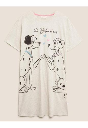 MARKS & SPENCER beige M&S Cotton 101 Dalmatians Short Nightdress 8A774AA35552E0GS_1