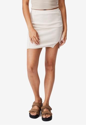 Cotton On beige Streamline Ribbed Mini Skirt 628B3AA9841374GS_1