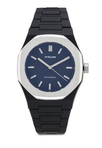 D1 Milano black and grey Polycarbon Silver Case Bracelet Watch 4D990ACF22DAE4GS_1