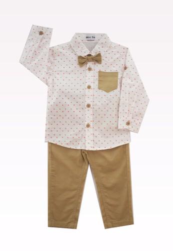 Mini Zo white and brown Asta Kemeja Brown Set 6E8F9KACFA95E6GS_1