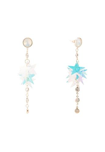 Dandelion white and multi Rhinestone Holographic Stars Line Earrings 094B5ACA985FF7GS_1