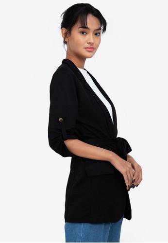 ZALORA BASICS black Half Sleeve Longline Blazer with Tie 007FAAA8ECCAD0GS_1