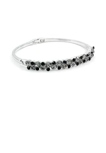Glamorousky black Elegant Bangle with Silver and Black Austrian Element Crystals B00D1AC886B938GS_1