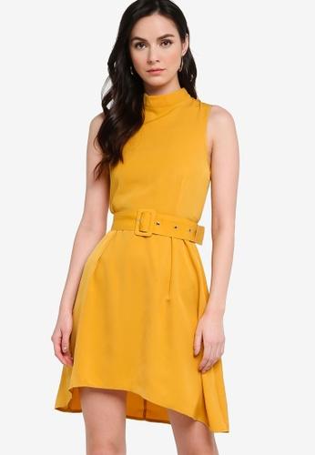 ZALORA WORK yellow High Neck Swing Dress With Belt 03BFBAAA2173CEGS_1