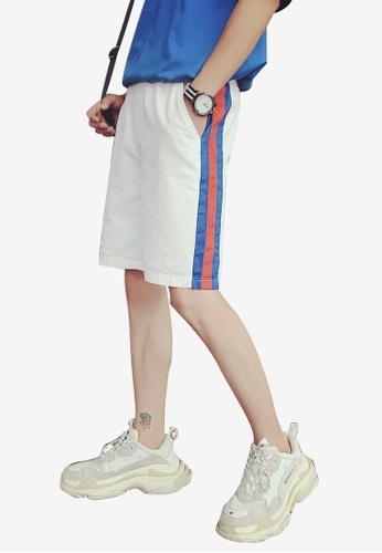 hk-ehunter white Men Elastic Waist Shorts 0F517AAB322EA6GS_1