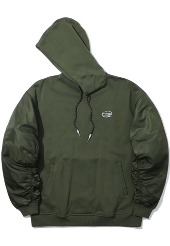Fivecm green Twill-panelled hoodie E8CBFAA49AF93FGS_1