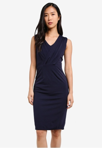 KLEEaisons navy V Neck Fitted Dress With Bow-Tie KL492AA0RVP7MY_1