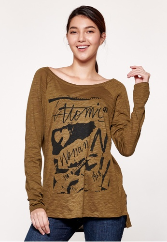 Sisley green Printed Long Sleeves T-shirt B924AAA142973AGS_1