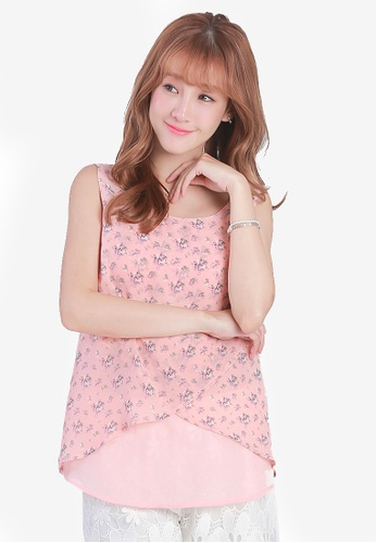 Yoco pink Floral Split Back Chiffon Top AF5FCAA3DE93CFGS_1