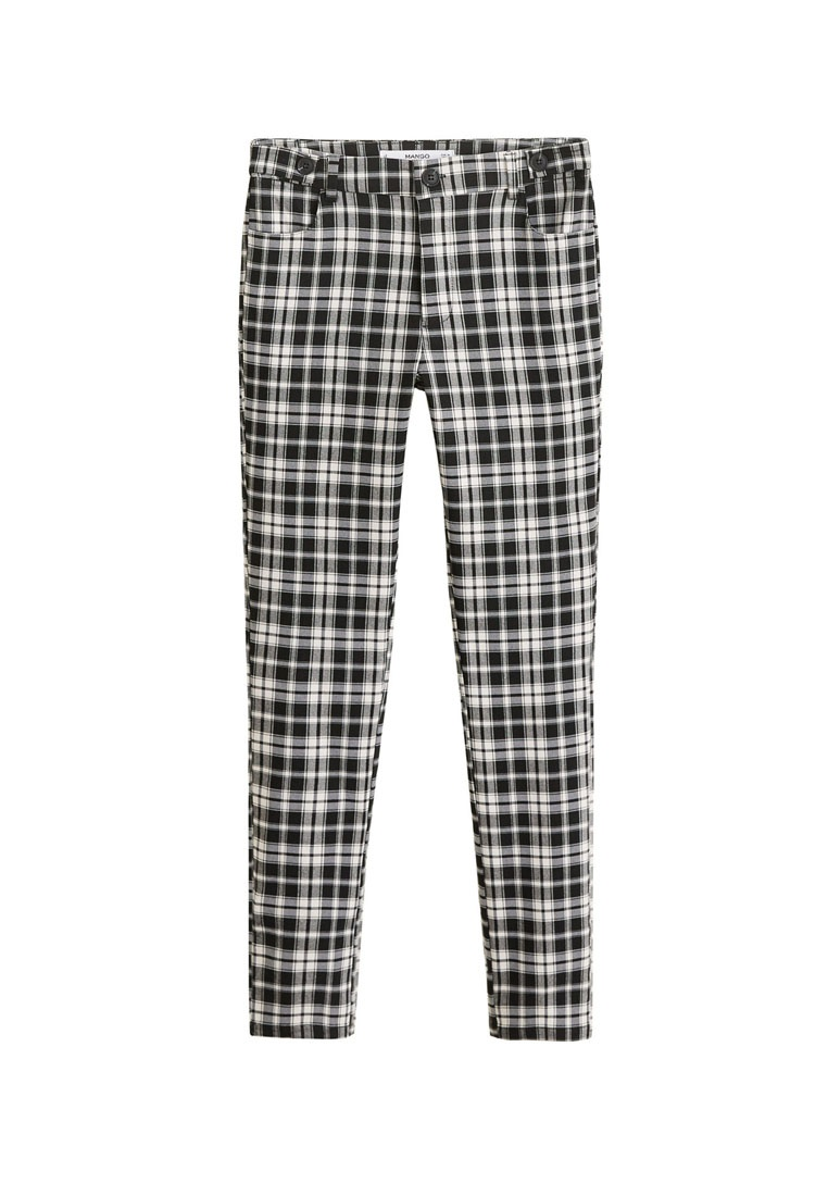 Black Slim Fit Trousers Mango Check P4xwqCIB