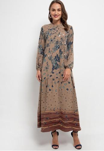 Kamilaa by Itang Yunasz multi and brown Gamis Modern 0695CAAEC9EAECGS_1