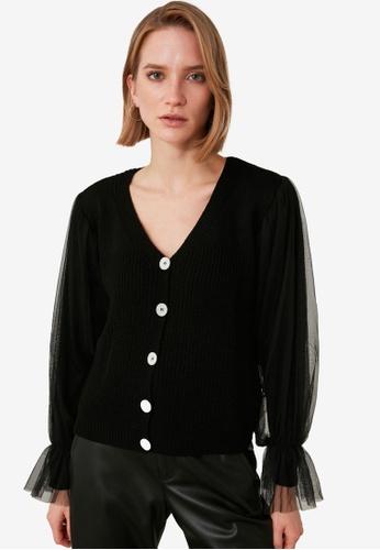 Trendyol black Tulle Detail Knit Cardigan 1777DAAF52BB19GS_1
