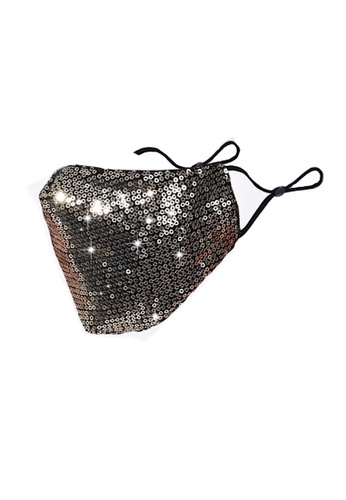 Glamorbit multi Silver Sequin Reusable Mask 3516AES7519BECGS_1