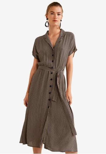 Mango brown Striped Bow Dress E46BBAAFA1A8BBGS_1