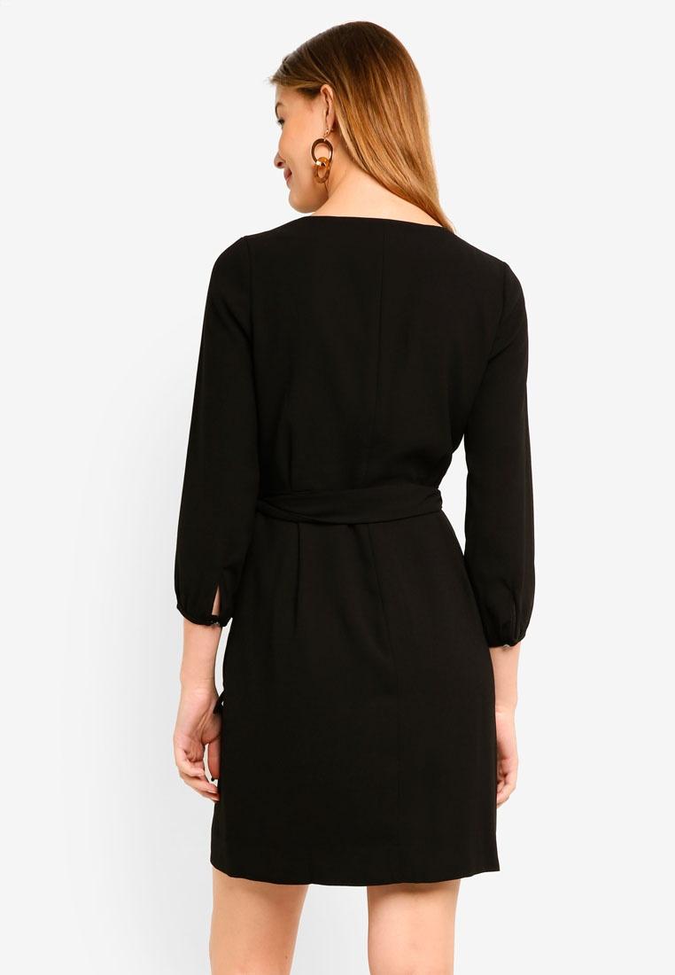 J Black Crew Dress Crepe Wrap 365 7BHpwqW