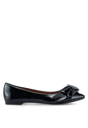 Nose black Patent Pointed Toe Bowtie Flat Pumps ECFE4SH6342054GS_1