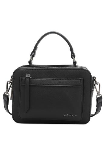 Volkswagen black Faux Leather Top Handle Sling Bag 7E38BAC3DE6026GS_1
