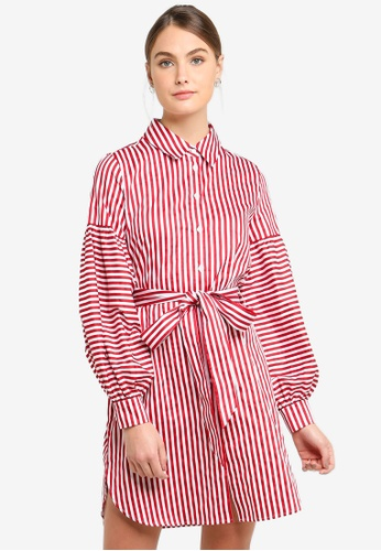 Armani Exchange red Stripe Chemisier Dress A6D47AAC6857A2GS_1