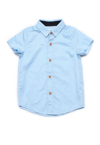 Mini Moley blue Sprinkle Print Boy's Short Sleeve Shirt BFFE2KAF748581GS_1