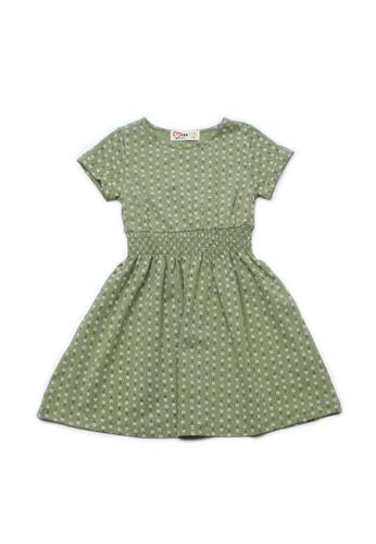Mini Moley green Design Print Girl's Skater Dress 8A93AKA0418DE1GS_1