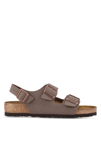Birkenstock 褐色 Milano Birko-Flor Nubuck Sandals BI090SH89JPQMY_1