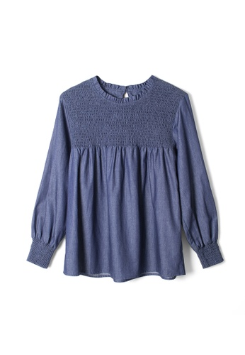 MS. READ blue Smocking Detail Top 5052EAA29D6E9BGS_1