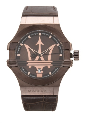 Maserati brown Maserati Potenza Men's Leather Strap Watch R8851108011 MA410AC95UUYMY_1