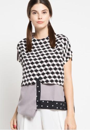 Oline Workrobe grey High Collar Top OL983AA53FWSID_1