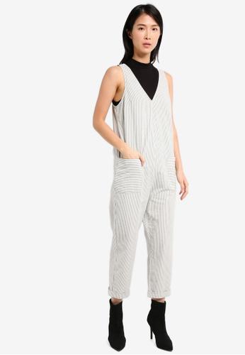 TOPSHOP beige Stripe Slouch Jumpsuit TO412AA0SZ5PMY_1
