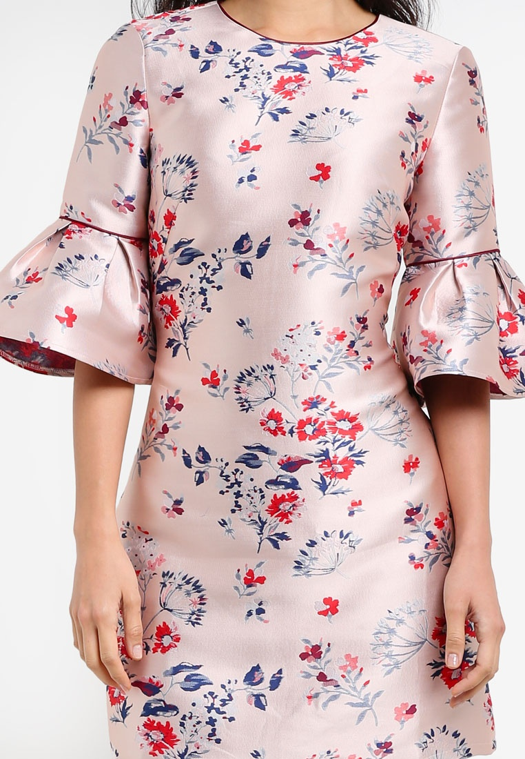 Desert Rose amp; Jacquard Flare Jacquard with Sleeves Shift ZALORA Fit Dress qPPz8aRw