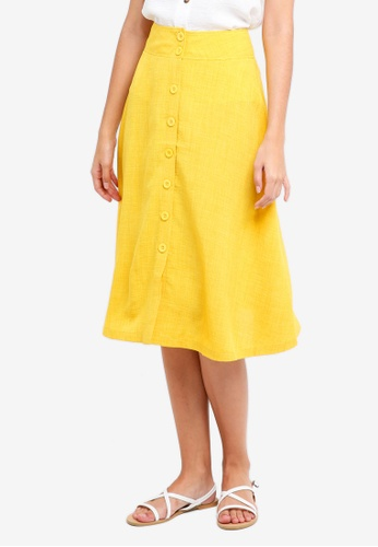 ZALORA yellow Buttoned Down Midi Skirt 2F411AA916CFC1GS_1