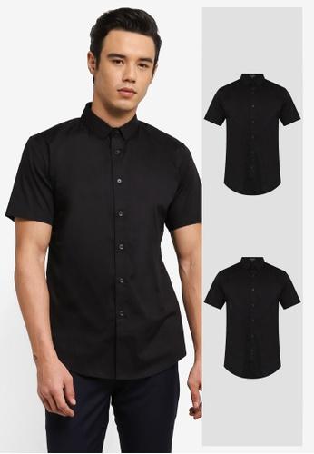 ZALORA black 2 Pack Slim Fit Cotton Poplin Short Sleeve Shirt ZA819AA0RO0NMY_1