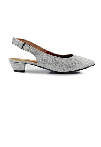 SHINE silver SHINE Glittering Slingback Point Toe Low Heels 11FF6SHCDACEDDGS_1
