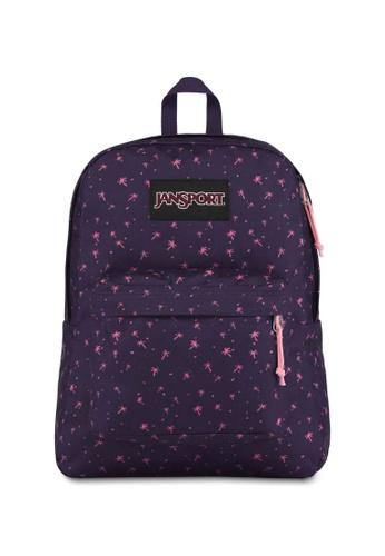 Jansport purple Jansport Black Label Superbreak Backpack Palm Life- 25L EDB9DAC36B8F14GS_1